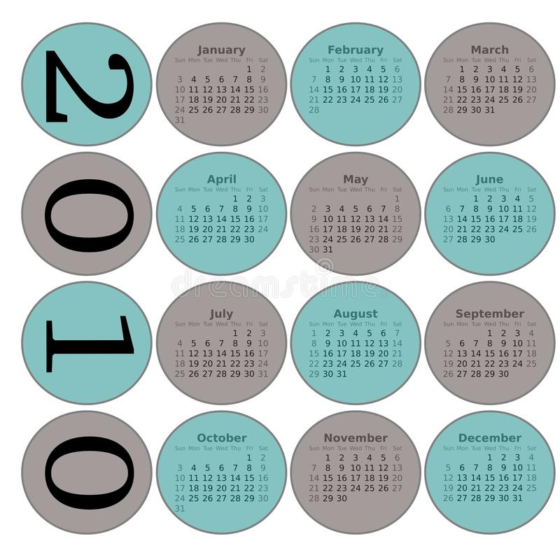 Calendrier de 2010 cercles photos stock