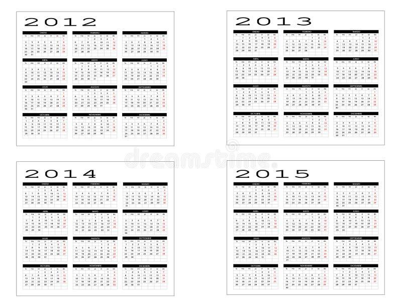 Calendrier de 2012 à 2015 images libres de droits