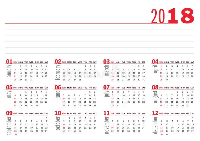calendrier 2018 de base illustration de vecteur