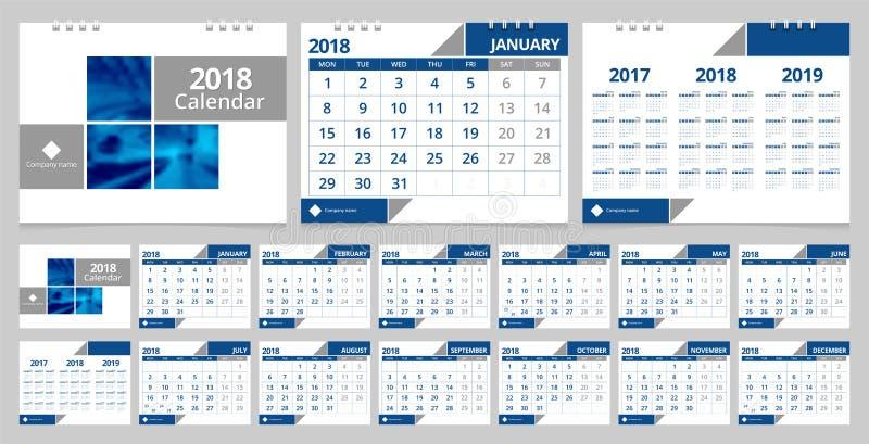 Calendrier de bureau 2018 illustration libre de droits