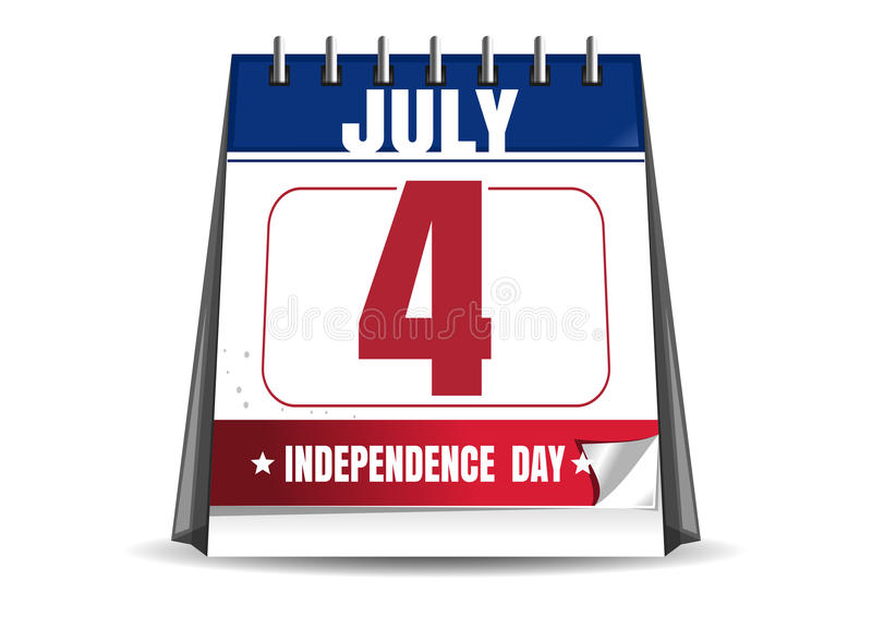 Calendrier de bureau avec la date du 4 juillet illustration stock