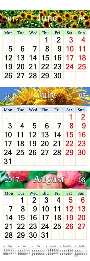 Calendrier de bureau pendant trois mois juin des juillet et ao t 2017 avec des photos - Calendrier du mois de juin 2017 ...