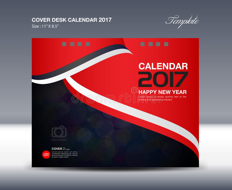 Calendrier de bureau rouge pendant 2017 années, calibre de calendrier de bureau de couverture illustration libre de droits