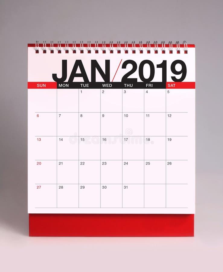 Calendrier de bureau simple pour janvier 2019 photographie stock libre de droits