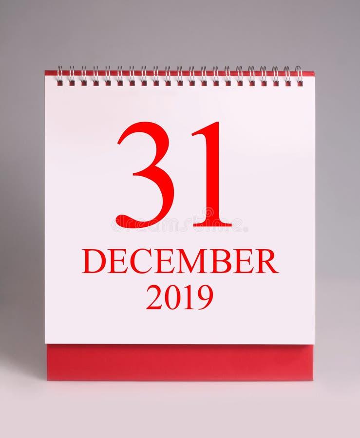 Calendrier de bureau simple pour la soirée du Nouveau an 2020 images libres de droits