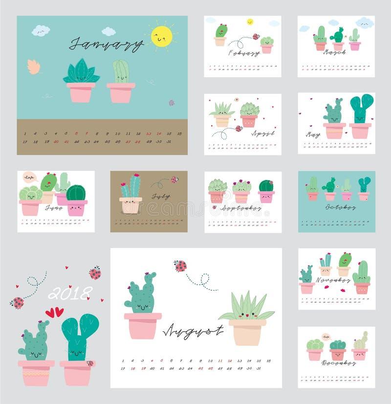 Calendrier 2018 de cactus images stock