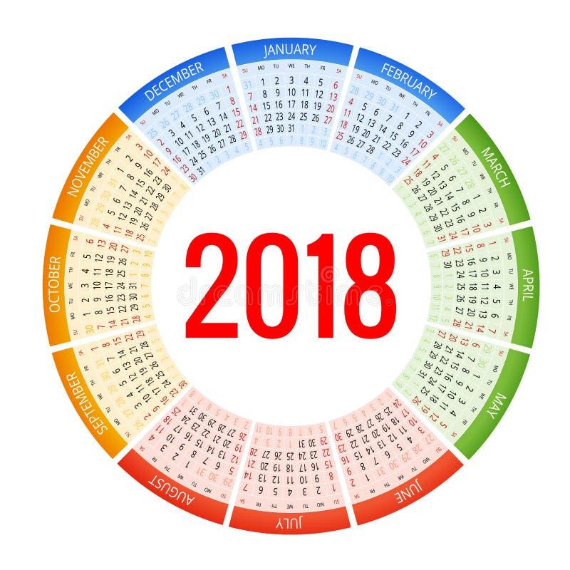 calendrier de 2018 cercles Calibre d'impression La semaine commence dimanche Orientation de portrait Ensemble de 12 mois Planific illustration stock