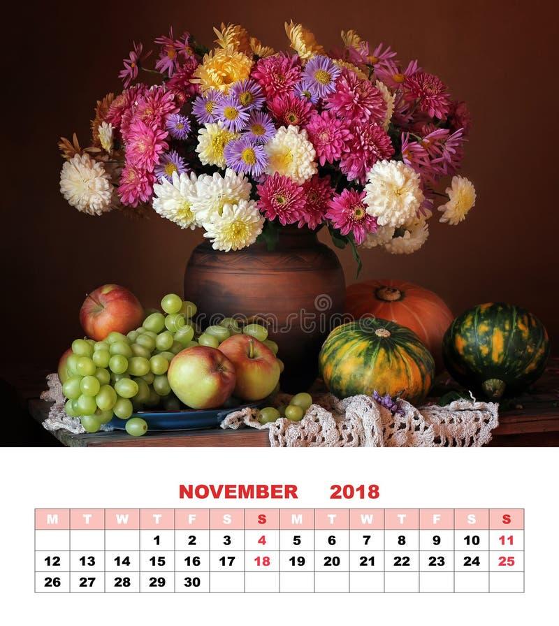 Calendrier de conception de page, novembre 2018 D'automne toujours la vie avec la BO photos stock