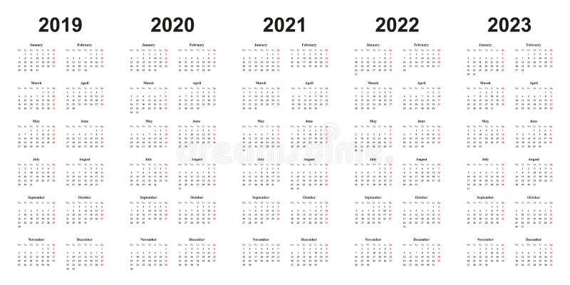 Le Calibre De Calendrier A Placé Pour 2018, 2019, 2020, 2021, 2022
