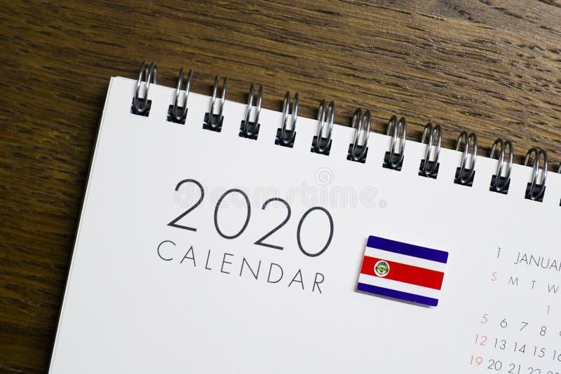 Calendrier de Costa Rica Flag le 2020 image stock