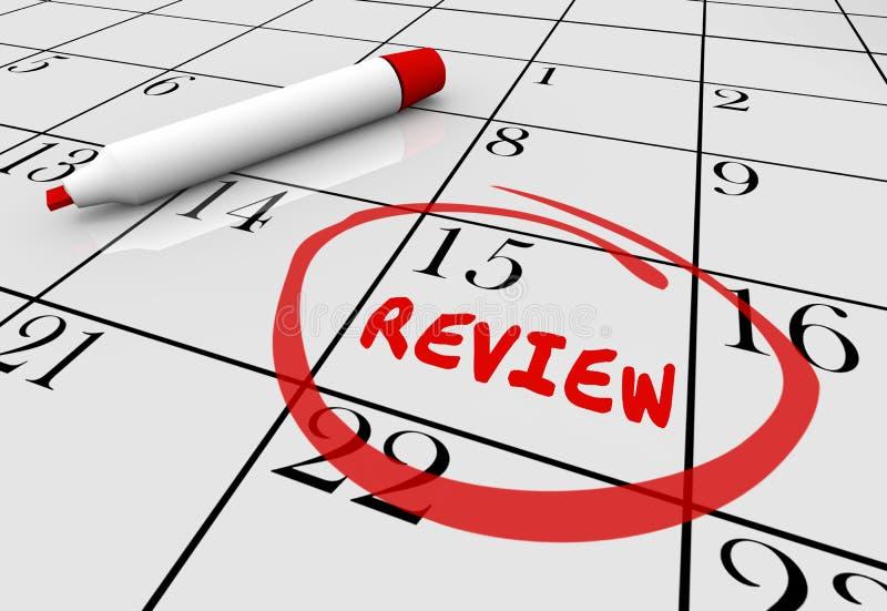 Calendrier de date du jour de rétroaction d'évaluation d'évaluation d'examen illustration stock