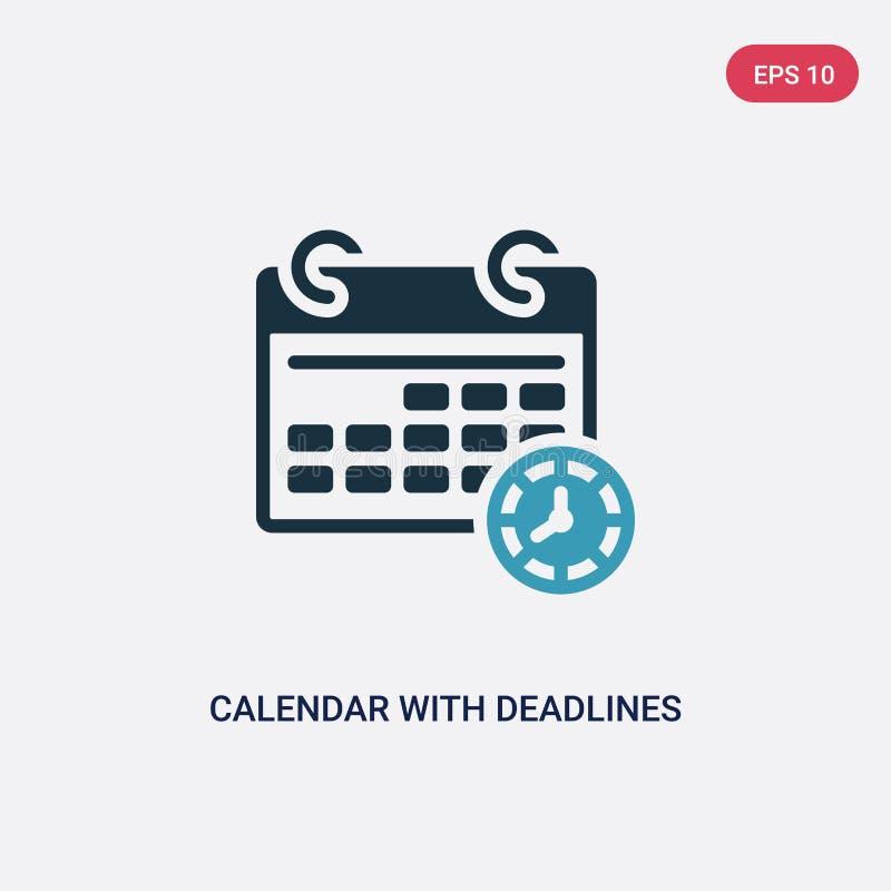 Calendrier de deux couleurs avec l'icône de vecteur de dates-butoirs du concept de productivité calendrier bleu d'isolement avec  illustration stock