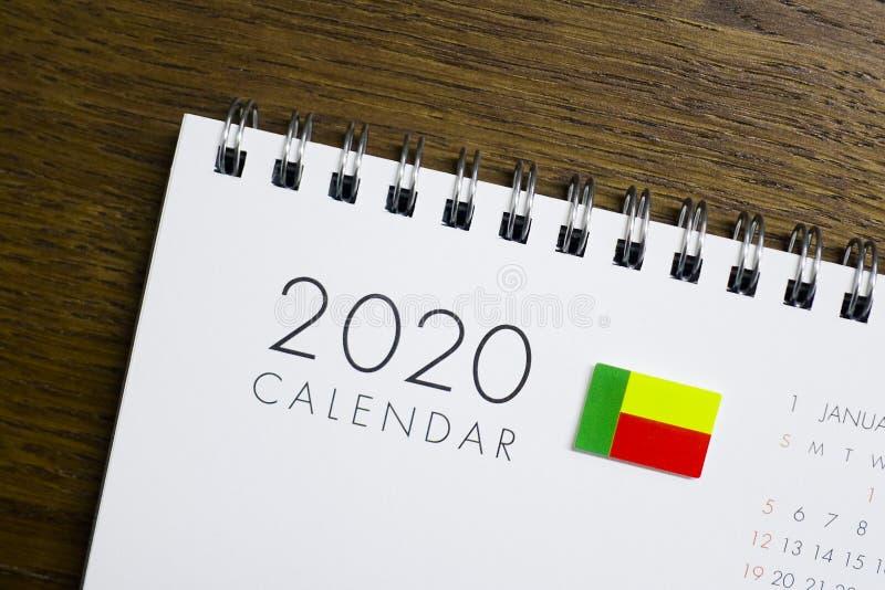 Calendrier de drapeau du Bénin le 2020 photo libre de droits