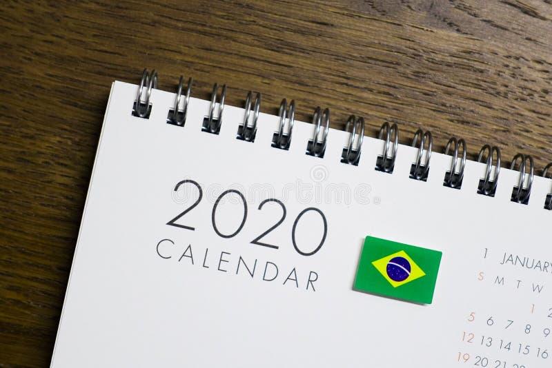 Calendrier de drapeau du Brésil le 2020 illustration stock