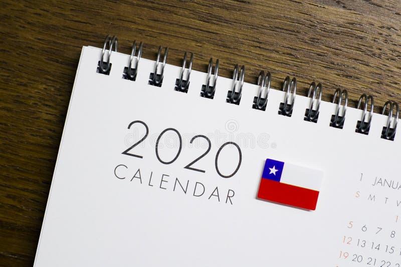 Calendrier de drapeau du Chili le 2020 illustration de vecteur