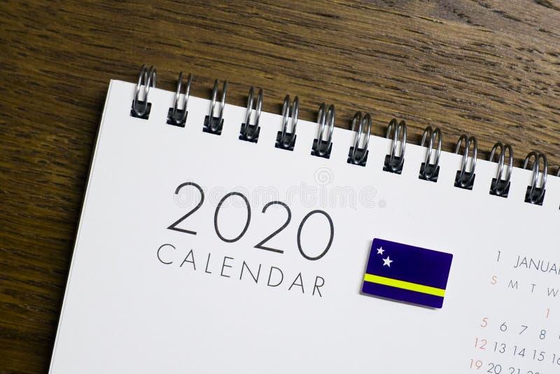 Calendrier de drapeau du Curaçao le 2020 photos stock