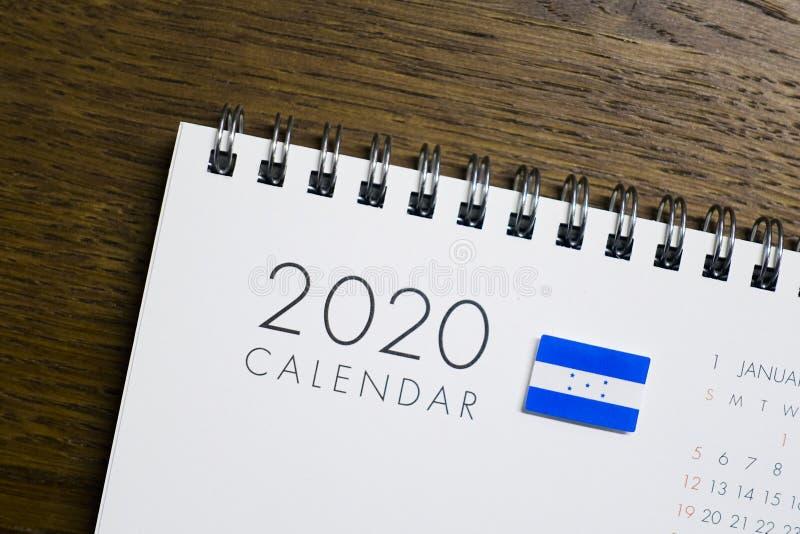 Calendrier de drapeau du Honduras le 2020 image stock