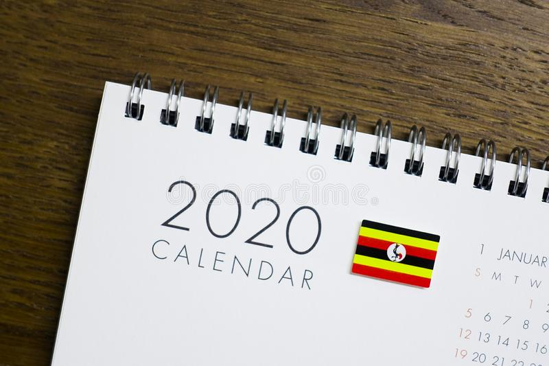 Calendrier de drapeau de l'Ouganda le 2020 photographie stock