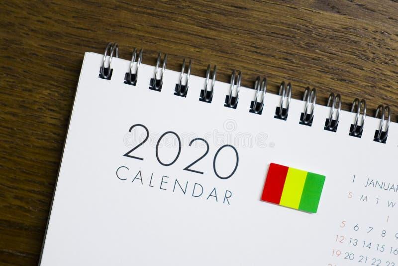 Calendrier de drapeau de la Guinée le 2020 photo stock