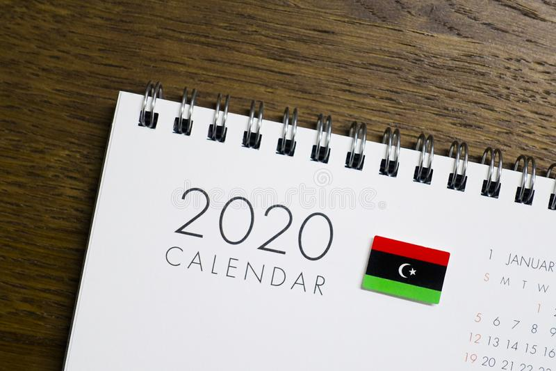 Calendrier de drapeau de la Libye le 2020 photo libre de droits
