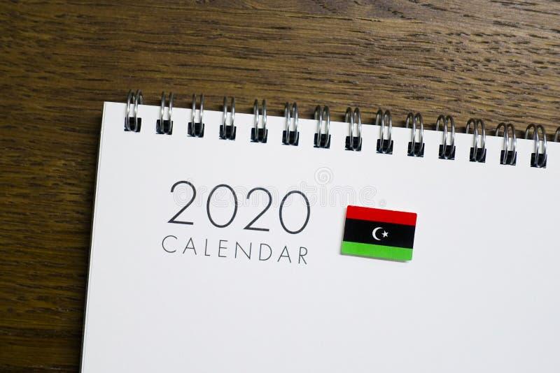 Calendrier de drapeau de la Libye le 2020 image libre de droits