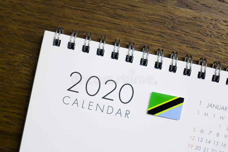 Calendrier de drapeau de la Tanzanie le 2020 photographie stock