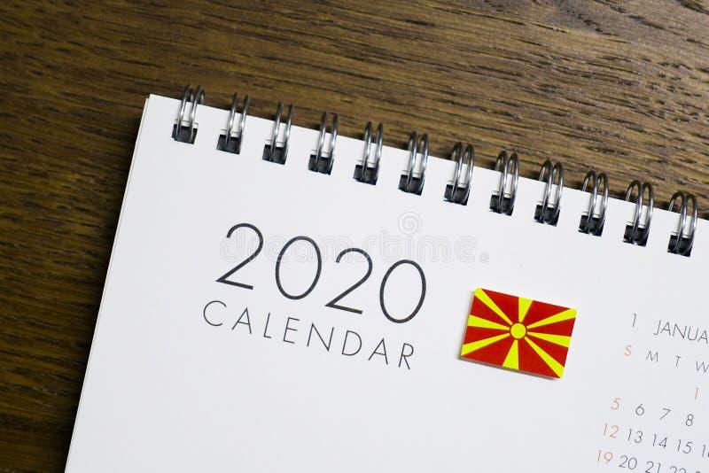 Calendrier de drapeau de Macédoine le 2020 photos libres de droits