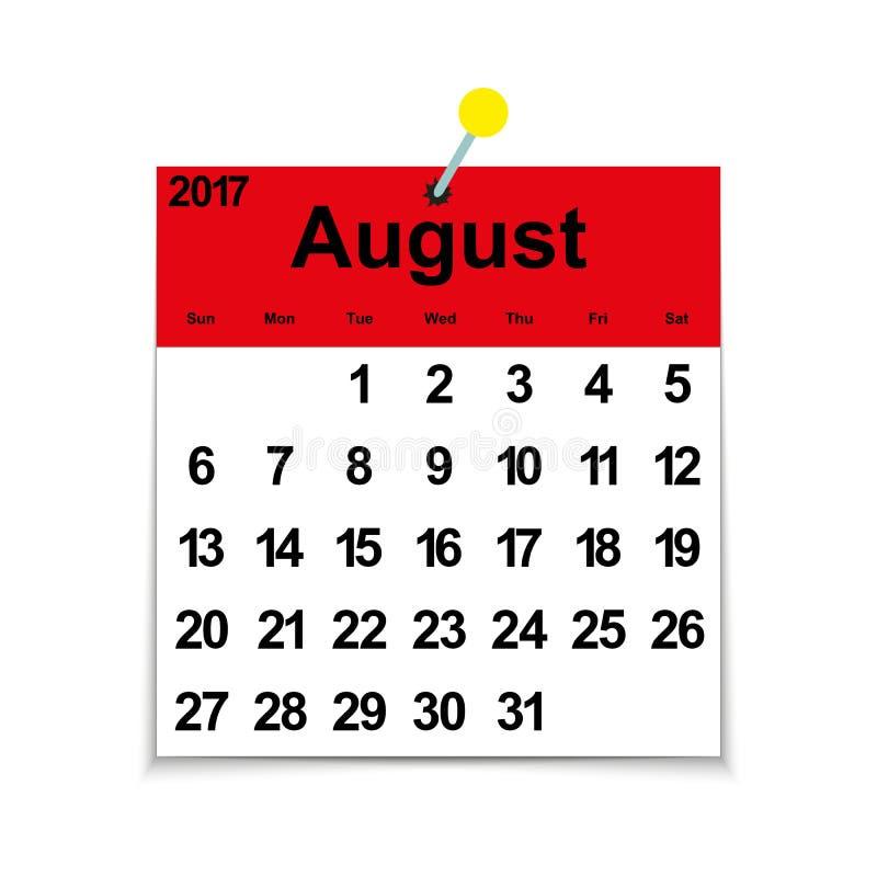 Calendrier 2017 de feuille avec août illustration libre de droits