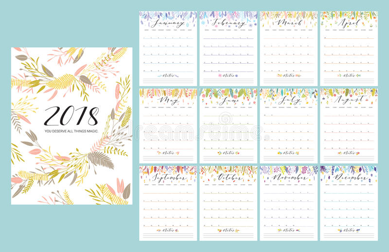 calendrier de 2018 fleurs illustration stock