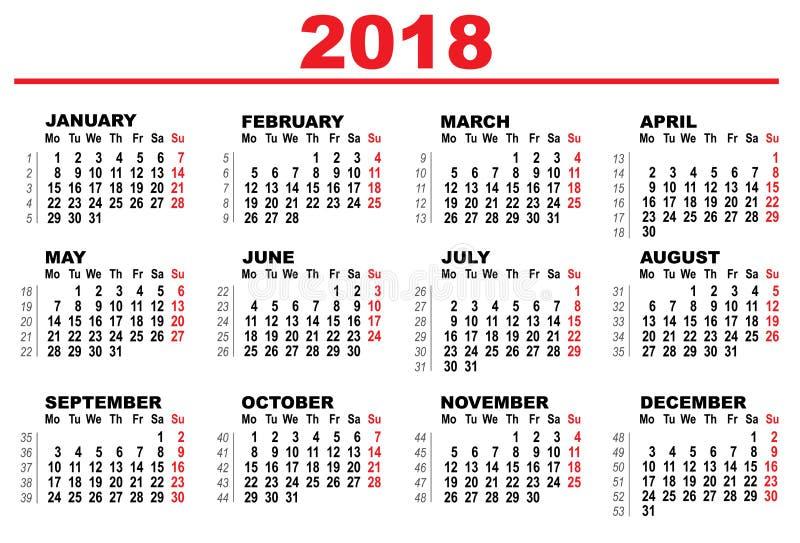 Calendrier de grille pour 2018 illustration de vecteur