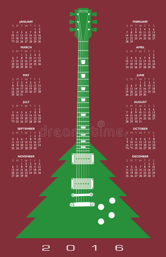 Calendrier 2016 de guitare d'arbre de Noël illustration stock