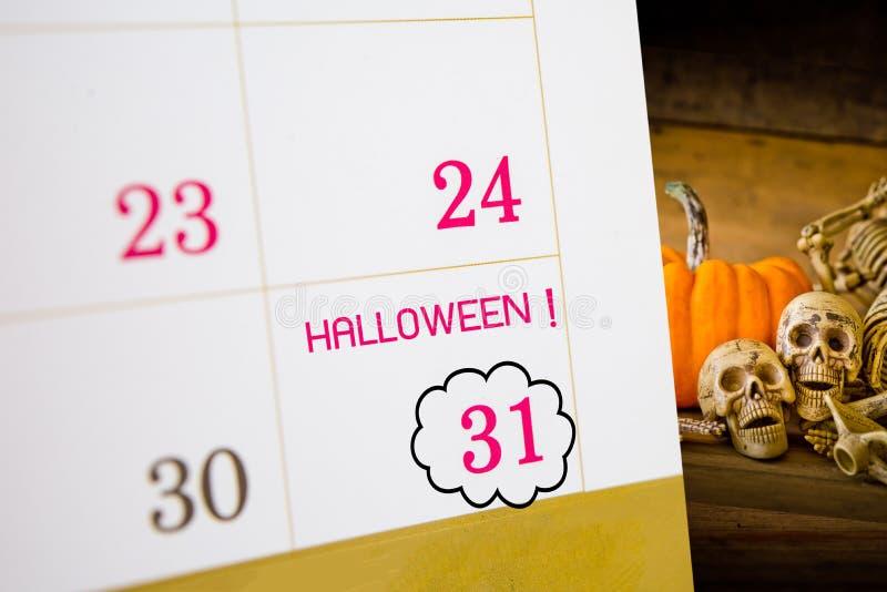 Calendrier de Halloween avec la date 31 image stock
