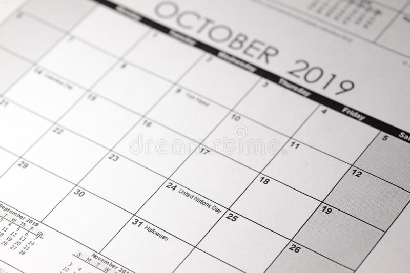 Calendrier de Halloween avec la date du 31 octobre image libre de droits