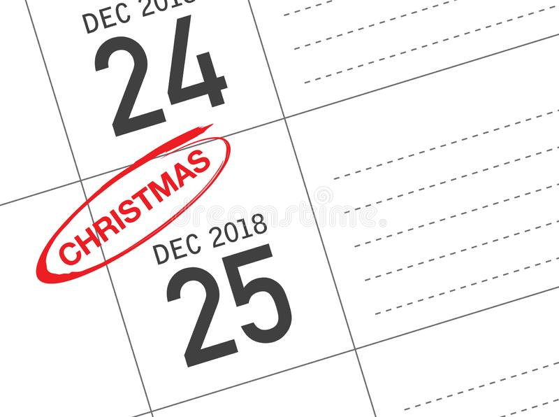 Calendrier de jour de Noël sur le journal intime photo libre de droits