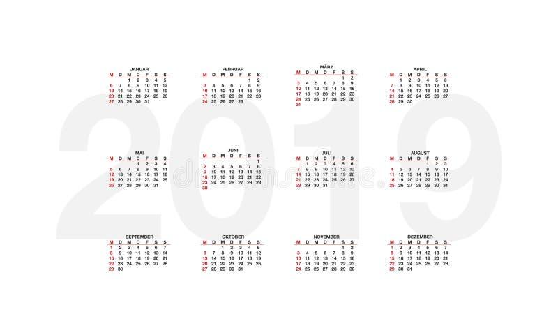 Calendrier de l'Allemagne pendant 2019 années, débuts de semaine lundi Calendrier de conception sur le fond blanc, illustration libre de droits