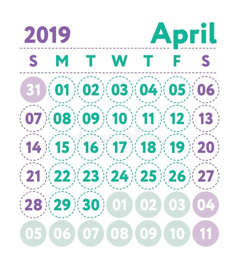 Calendrier 2019 Calendrier de l'anglais de vecteur Mois d'avril Débuts de semaine illustration stock