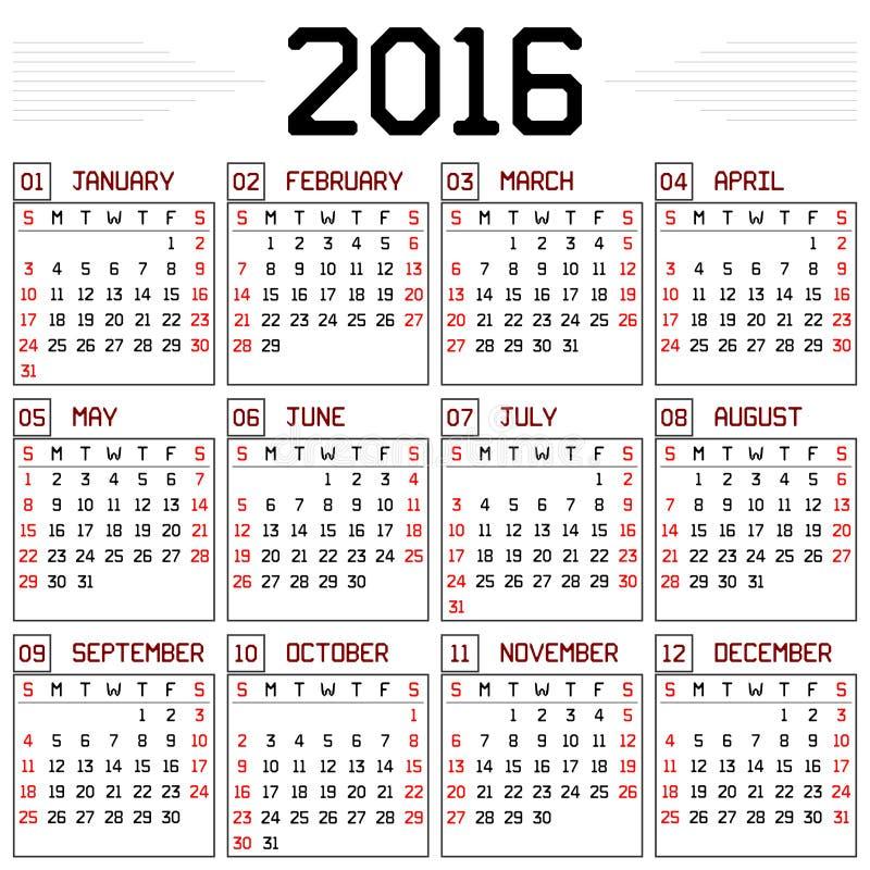 Calendrier de l'année 2016 illustration stock
