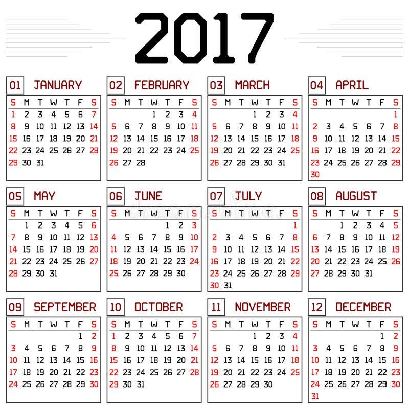 Calendrier de l'année 2017 illustration stock