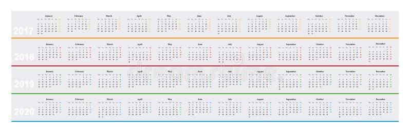 Calendrier de l'année 2017, 2018, 2019, 2020, conception simple, illustration libre de droits