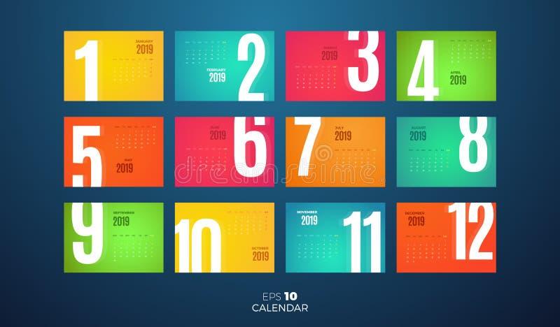 Calendrier de la revue mensuelle 2019 de mur Calibre de vecteur avec différentes pages de couleur illustration libre de droits