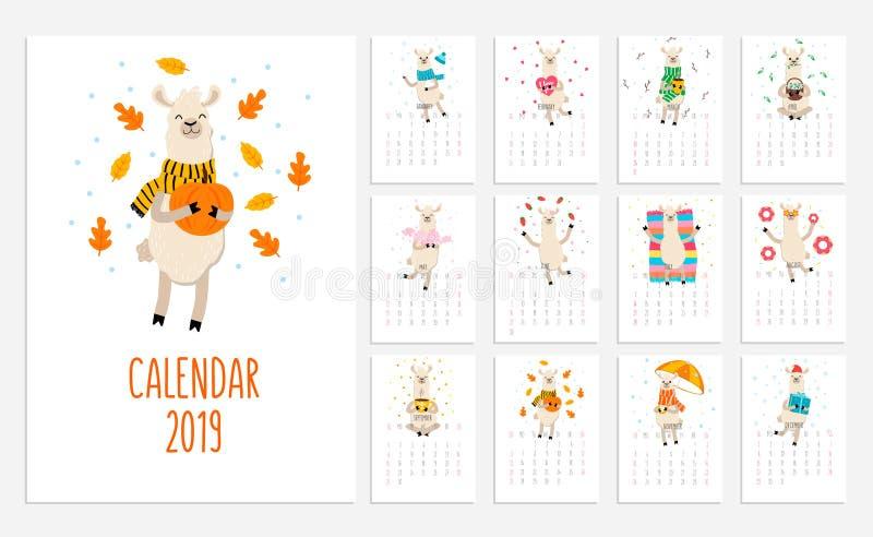 Calendrier de lama pour 2019 avec les alpaga mignons Illust de planificateur de vecteur illustration stock