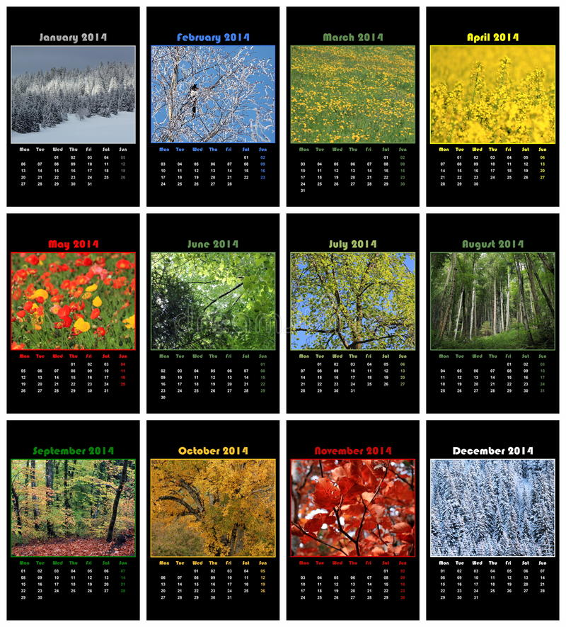 Calendrier de nature pour 2014 image libre de droits