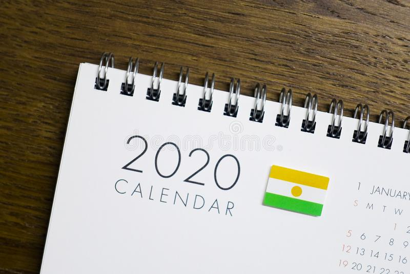 Calendrier de Niger Flag le 2020 images libres de droits