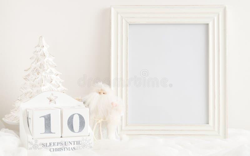 Calendrier de Noël - 10 sommeils jusqu'à Noël image stock