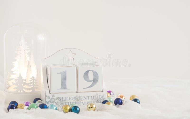 Calendrier de Noël - 19 sommeils jusqu'à Noël images libres de droits