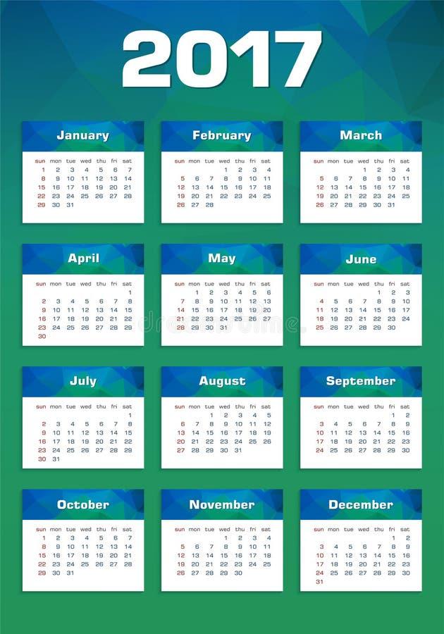 Calendrier de nouvelle année dimanche 2017 d'abord photographie stock