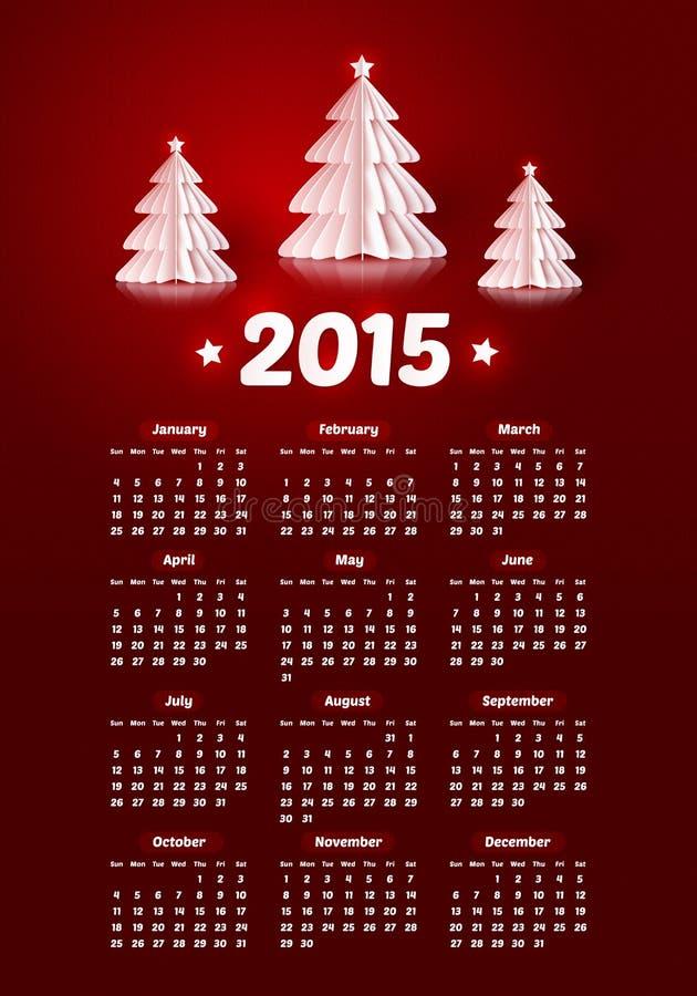 Calendrier de nouvelle année du vecteur 2015 avec le papier réaliste illustration libre de droits