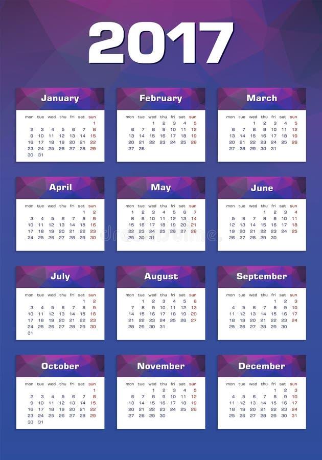 Calendrier de nouvelle année lundi 2017 d'abord photo libre de droits
