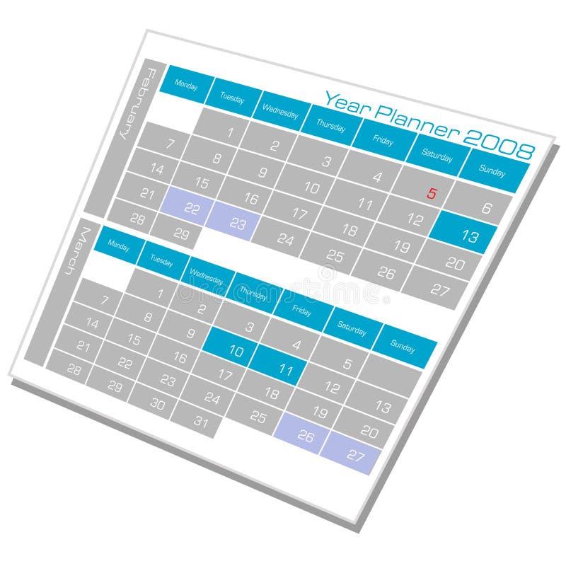 Calendrier de planificateur d'an illustration libre de droits