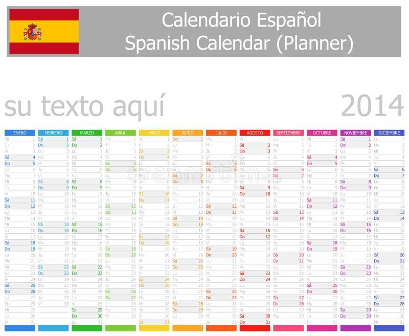 Calendrier de planificateur de 2014 Espagnols avec des mois verticaux illustration stock